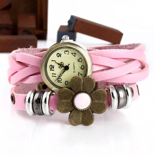 Relógio redondo com estilo Flor e Correia de couro-cor rosa