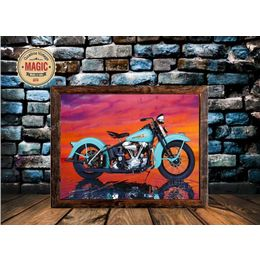 Quadro Vintage Moto Harley Davidson Azul Part 84