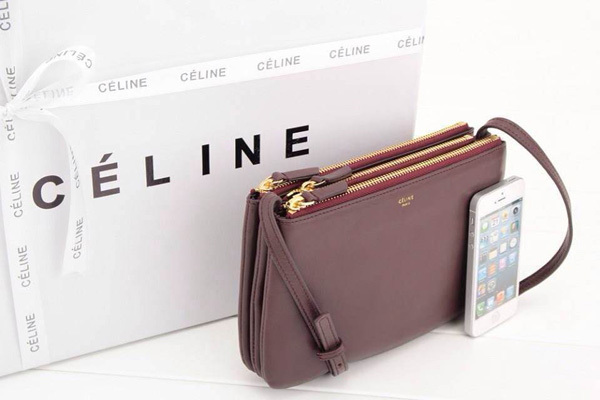 celine trio bag burgundy