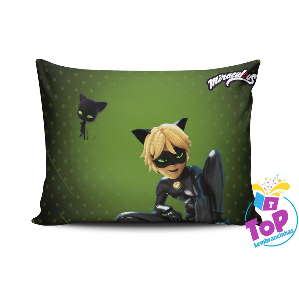 Almofada Miraculous 30x40cm - Lady Bug - Cat Noir