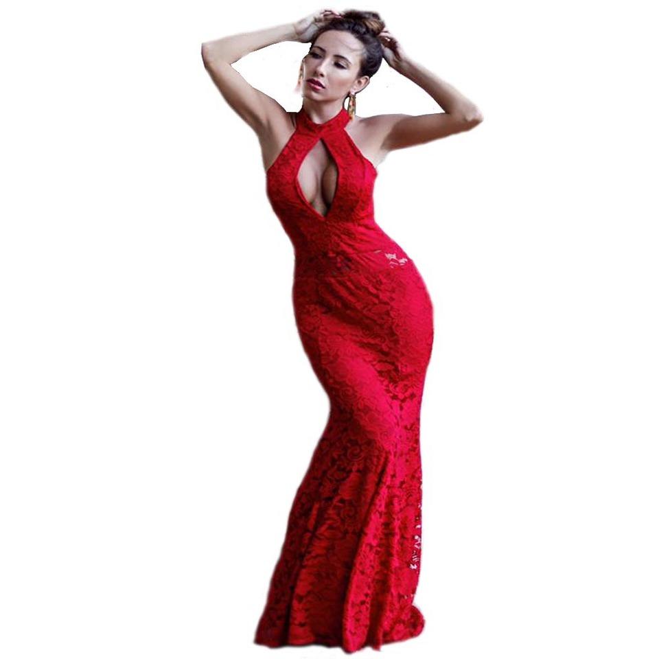 Vestidos de festa longo de renda vermelho