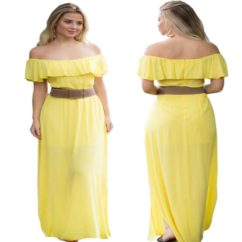 Vestido amarelo longo ombro a ombro viscose madame chic vestido amarelo longo ombro a ombro viscose thecheapjerseys Choice Image