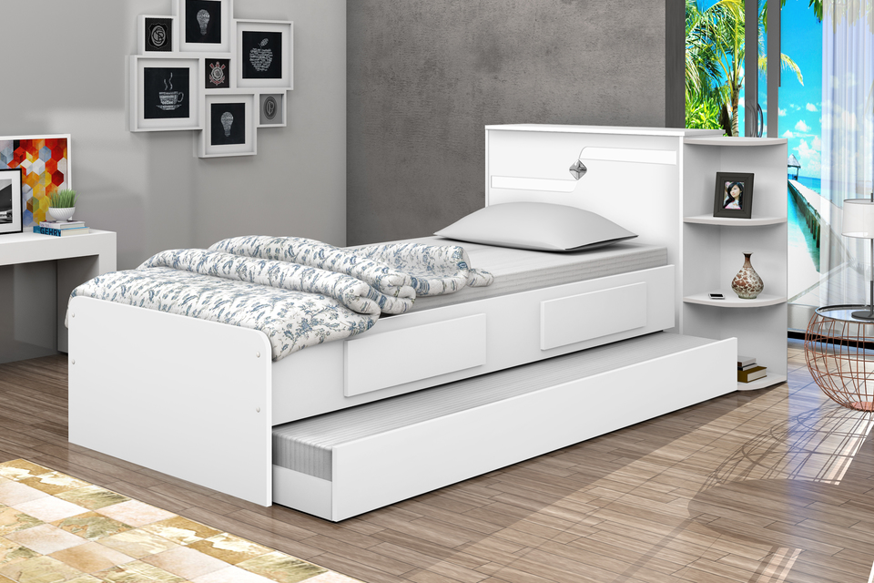 Bicama bau hortencia solteiro com 2 gavetas e cama - Mesa auxiliar para cama ...
