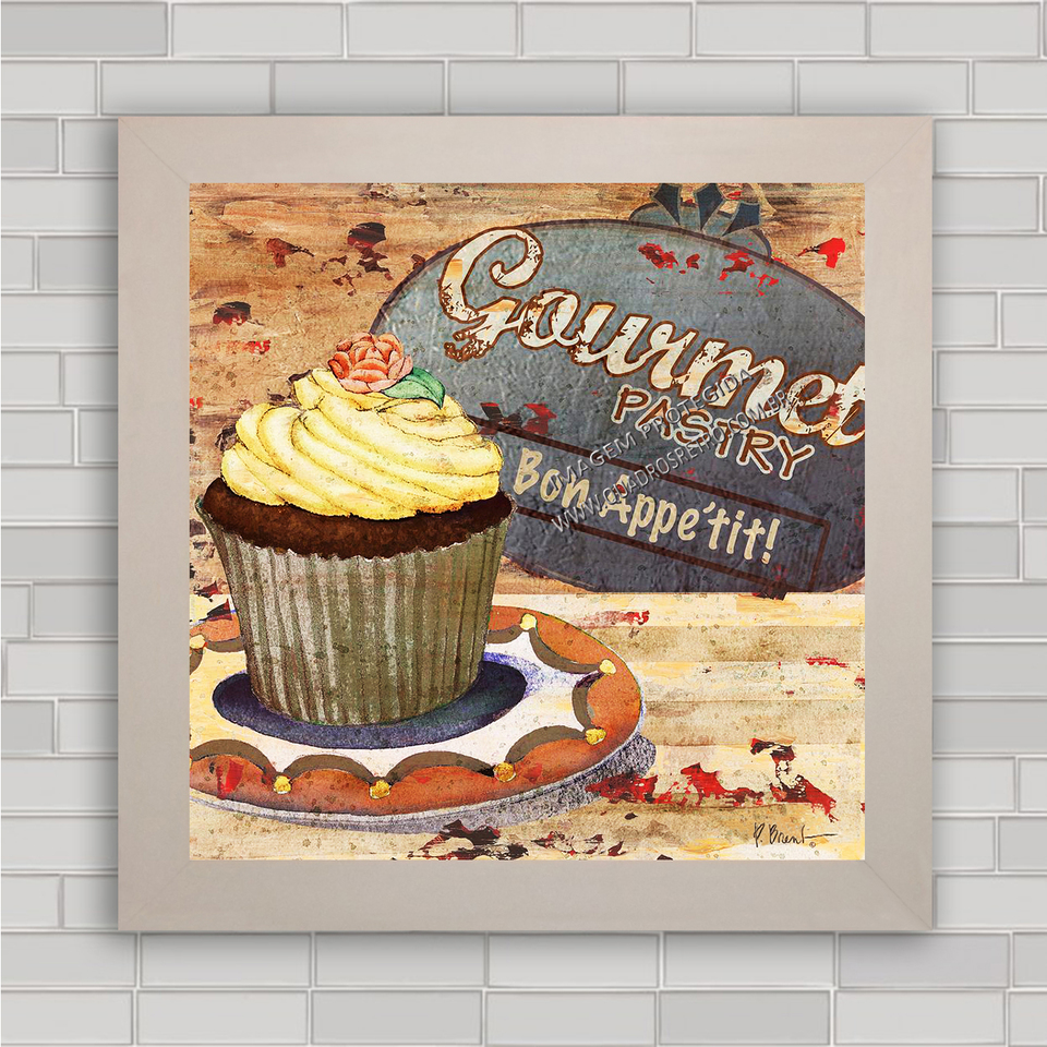Quadro Retr Cozinha 123 Cupcake Quadros Retr