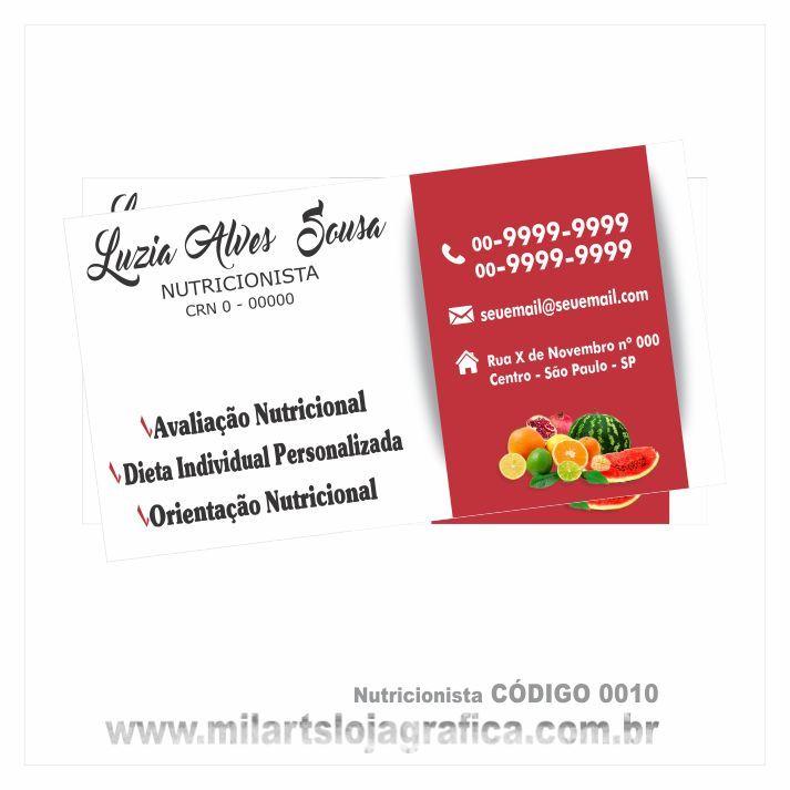 Muito Cartões de visita modelo Nutricionista colorido frente em couchê  WE38