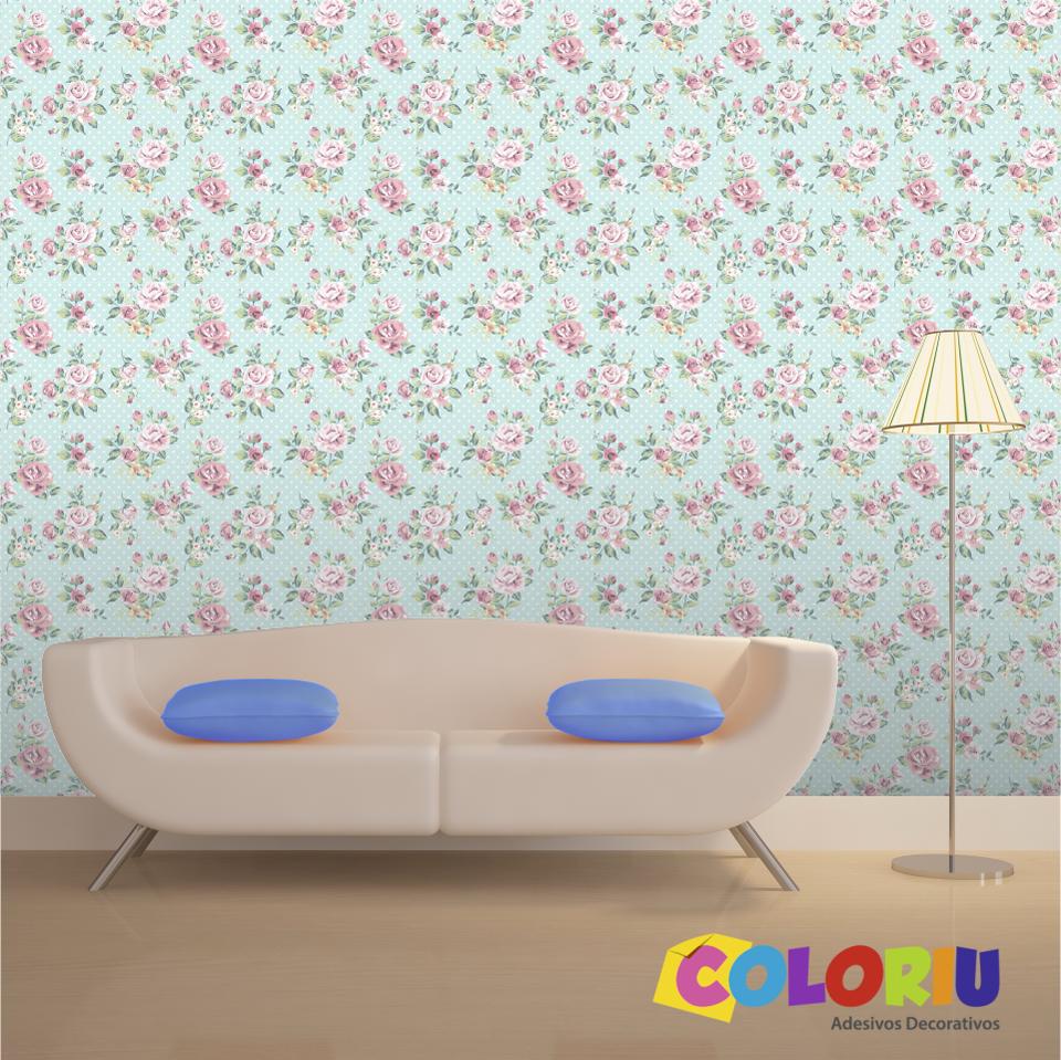 Papel De Parede Floral Azul E Rosa App 0073 Coloriu -> Papel De Parede Sala Floral