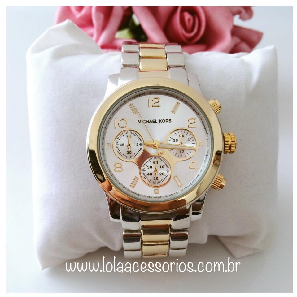 d8138ada7c3f1 Relógio Michael Kors Rosê Dourado Prata C Calendário
