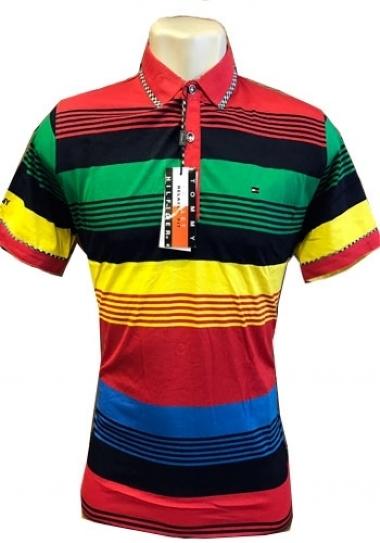 afc9041898f77 Camiseta Polo Tommy Hilfiger Listrada Colorida Mod 4 - MWgrifes ...