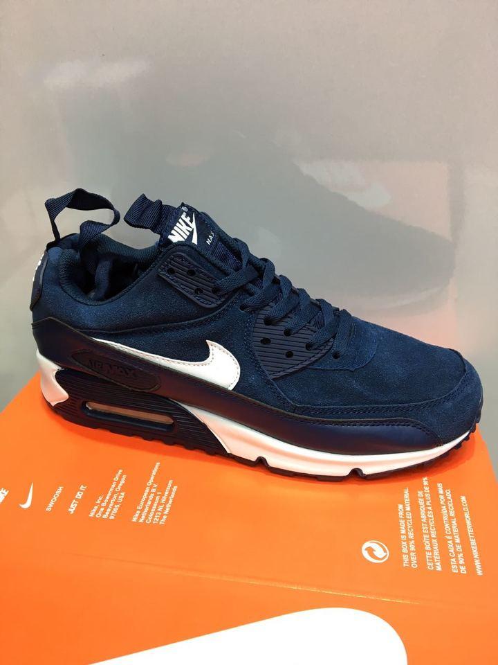 3266c9705 Tênis Nike Air Max 90 Azul Marinho e Branco - MWgrifes - Aqui é Top!