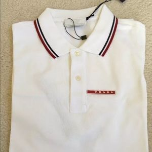 52bcc74a7aab4 Camisa Polo Prada Branca Lisa - MWgrifes - Aqui é Top!