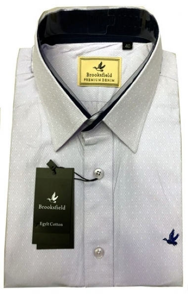 0df6fca2139 Camisa Social Brooksfield Cinza Clara Premium - MWgrifes - Aqui é Top!