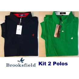 9a0d85b09 Kit 2 Camisas Polo Brooksfield Preta Lisa