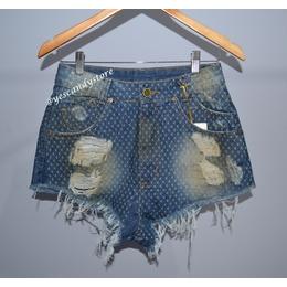 Hot Pants - Short Cintura Alta Jeans Cruzinhas