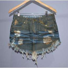 Saia Jeans com Lavagem 3D