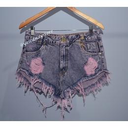 Hot Pants - Short Cintura Alta Jeans Rosa