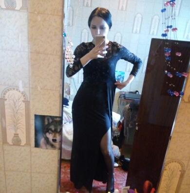 Vestido Longo Preto Sexy Manga Longa com Renda para Festa