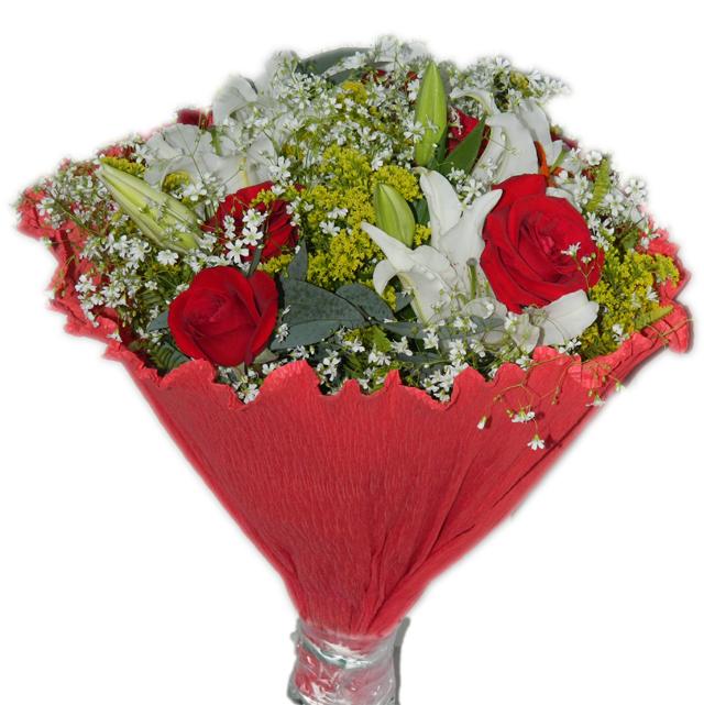 Muitas vezes Arranjo de Rosas Vermelhas com Lírio Branco - Camélia Flores Nova  QP45