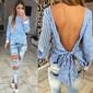 Blusa estilo camisa com laço