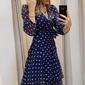 Vestido longo azul poá
