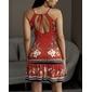 Vestido vermelho estampado babados