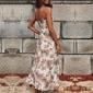 Vestido longo estampado fenda lateral