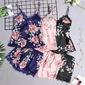 Kit conjunto lingerie cetim floral 5 peças