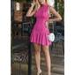 Vestido pink tubinho frisado