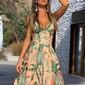Vestido longo estampado tropical