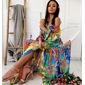 Vestido longo ciganinha colorido