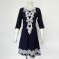 Vestido azul renda branca