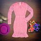 Vestido blogueira renda rosa manga longa