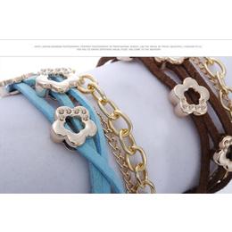 Bracelete ou Pulseira de Couro e Metal Dourado