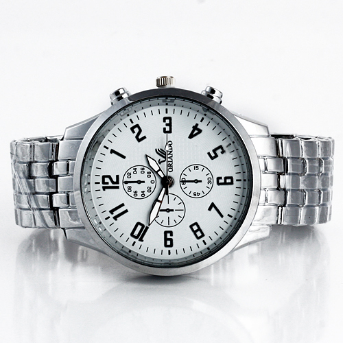 Relógio de Metal fundo preto e fundo branco marca Orlando