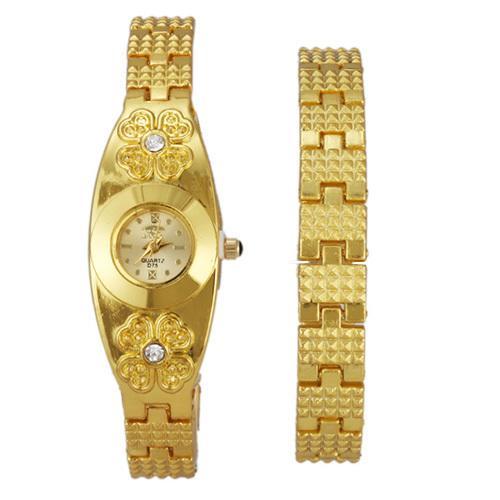 Relógio de Pulso Analógico Zircão dourado