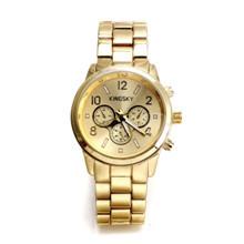 Relógio Unisex -Kingsky   Diamante  Corrente de Ouro Banda Quartz Analógico