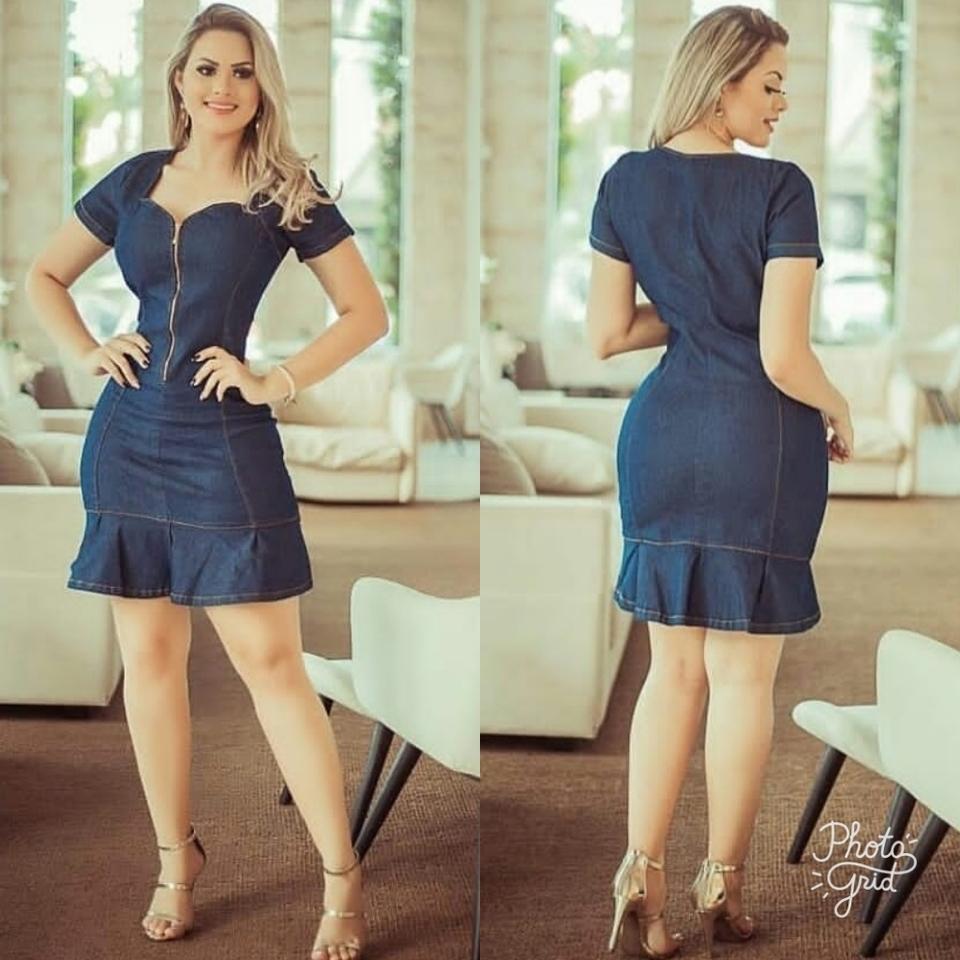 957670cdb Vestido jeans manga curta ziper frontal - Dri Fashion Modas