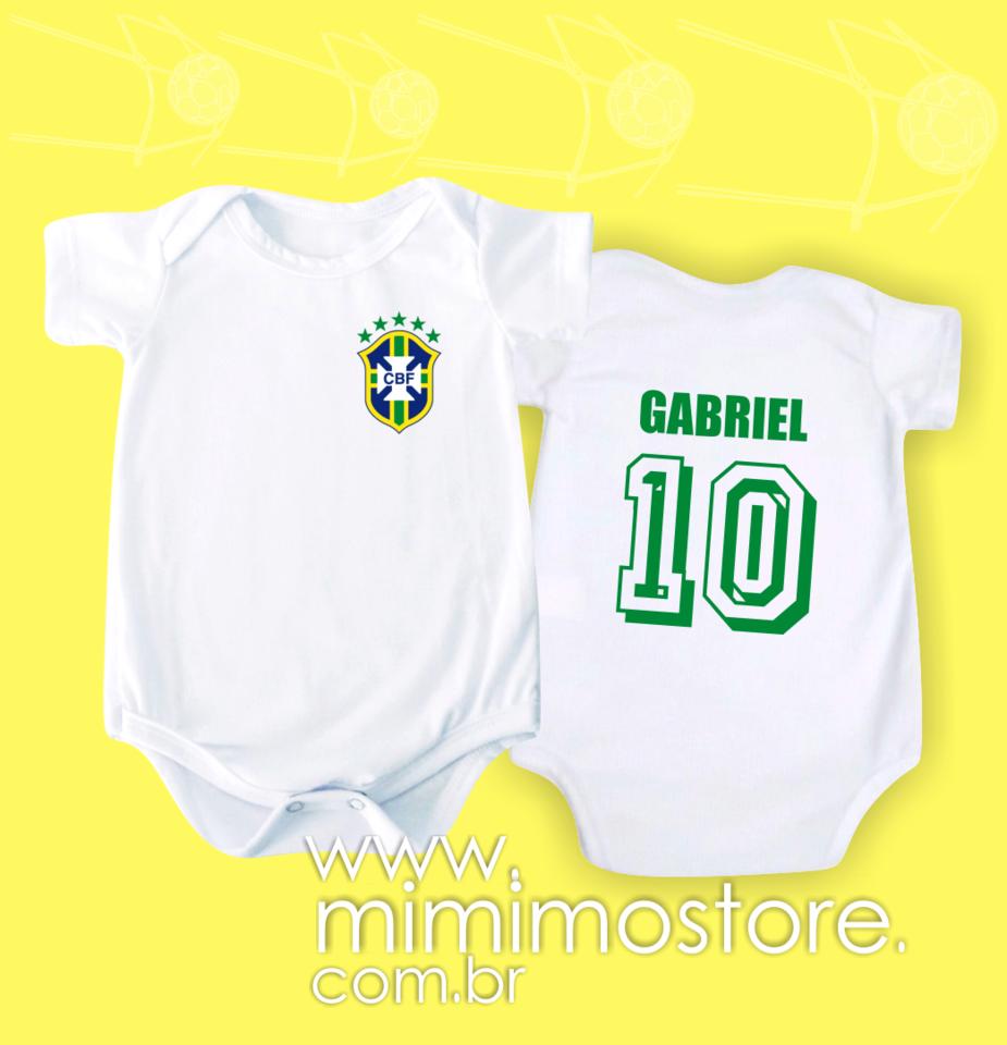 5c0626bb0b Body Brasil Frente e Costas com o nome do bebê - Mimimô