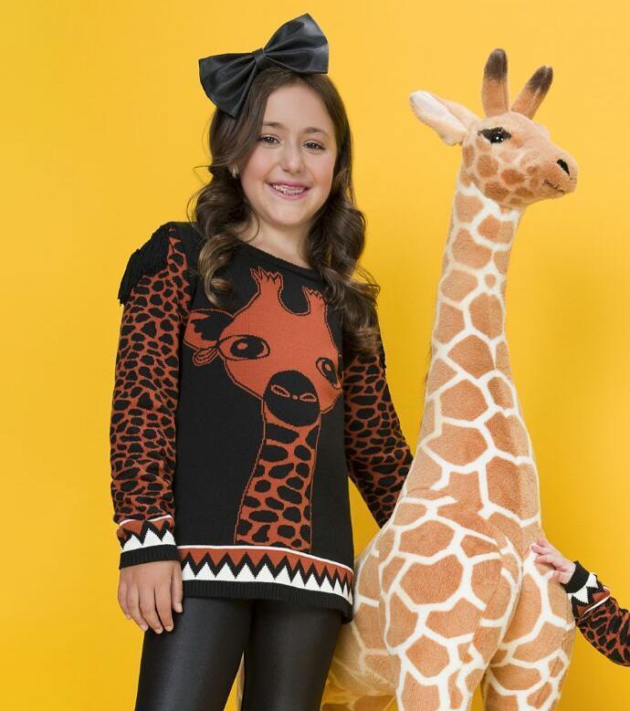 Tricô infantil girafa