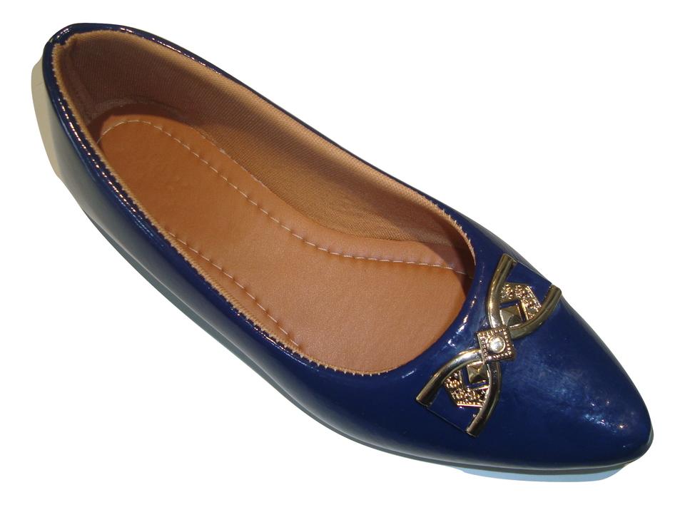 0704f1f35d Sapatilha RED BLUE S.M. Conforto Anna em Verniz Bico Fino Azul - Atacado