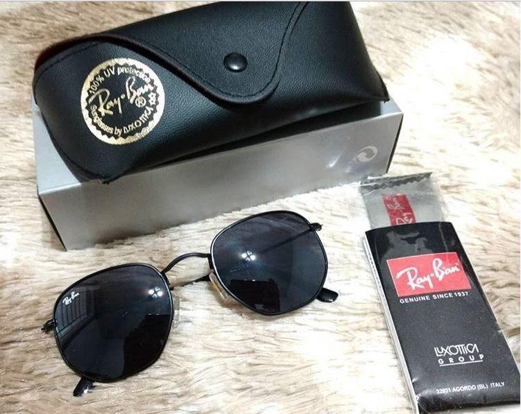 a5d2fd43d49e8 Óculos Ray-ban Hexagonal Preto - AB Shopp
