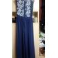 Vestido longo azul renda
