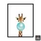 Quadro Girafa Chiclete Azul