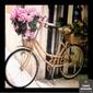 Quadro Bicicleta Bege Flores