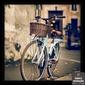 Quadro Bicicleta Azul Sépia