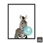 Composição 3 Quadros Animais | Zebra Elefante Coala Chiclete Azul
