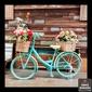 Quadro Bicicleta Azul Flores
