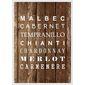 Quadro Porta Rolha |Tipos de Vinho Malbec Cabernet...