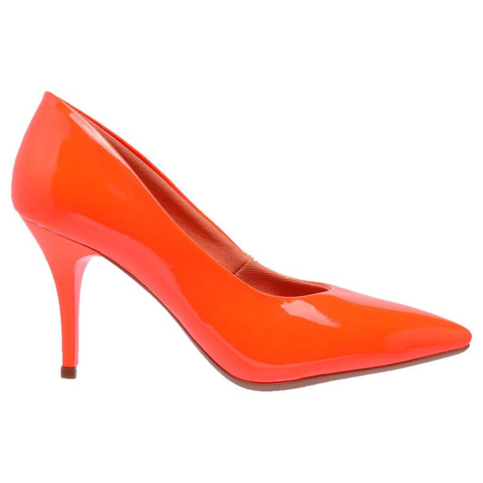 60cefcf924e Sapato Social Feminino Scarpins Laranja Neon salto medio fino ...