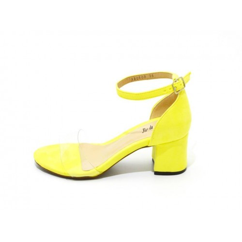 4da286de68 Sandália Social Tira Transparente salto grosso baixo amarela ...