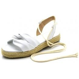 edbc521d88 Sandália rasteira Napa Branca amarrar na perna corda